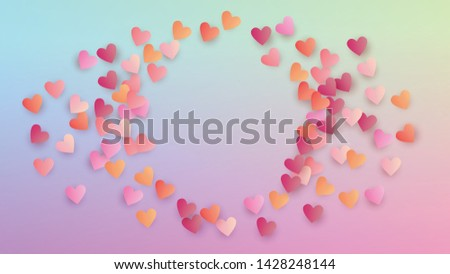 Valentine's Day Background. Many Random Falling Purple Hearts on Hologram Backdrop. Banner Template. Heart Confetti Pattern. Vector Valentine's Day Background.