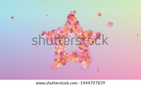 Valentine's Day Background. Many Random Falling Purple Hearts on Hologram Backdrop. Flyer Template. Heart Confetti Pattern. Vector Valentine's Day Background.