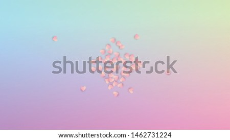 Valentine's Day Background. Many Random Falling Purple Hearts on Hologram Backdrop. Heart Confetti Pattern. Card Template. Vector Valentine's Day Background.
