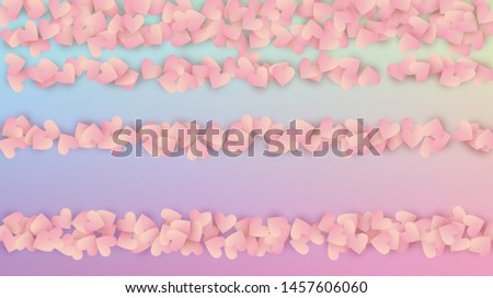 Valentine's Day Background. Many Random Falling Red Hearts on Hologram Backdrop. Poster Template. Heart Confetti Pattern. Vector Valentine's Day Background.