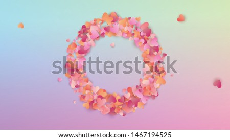 Valentine's Day Background. Poster Template. Heart Confetti Pattern. Many Random Falling Beautifull Hearts on Hologram Backdrop. Vector Valentine's Day Background.
