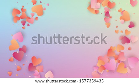 Valentine's Day Background. Poster Template. Heart Confetti Pattern. Many Random Falling Purple Hearts on Hologram Backdrop. Vector Valentine's Day Background.