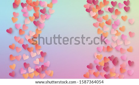 Valentine's Day Background. Poster Template. Many Random Falling Beautifull Hearts on Hologram Backdrop. Heart Confetti Pattern. Vector Valentine's Day Background.