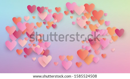 Valentine's Day Background. Poster Template. Many Random Falling Red Hearts on Hologram Backdrop. Heart Confetti Pattern. Vector Valentine's Day Background.