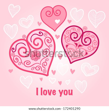 Valentine's day background, template for the card, heart decoration in pink colors