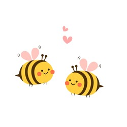 Valentine's day background with  cute bee cartoon and heart sign symbol on white background vector illustration.