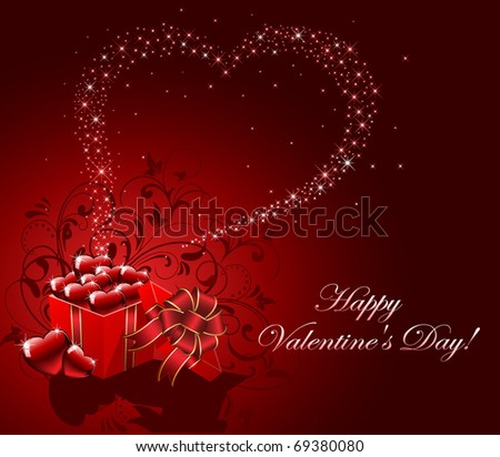 Valentine's Day background with gift box and Hearts, illustration