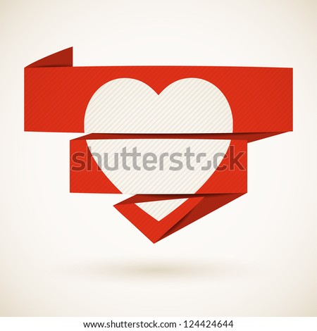 Valentine's Day background with Heart on a folded paper. Vector illustration.