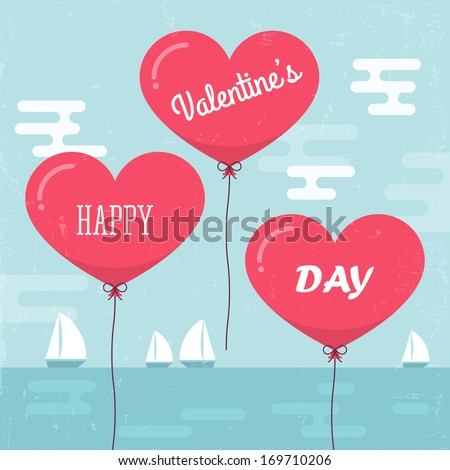 Valentine's day background with heart shape balloons. Vector illustration #169710206