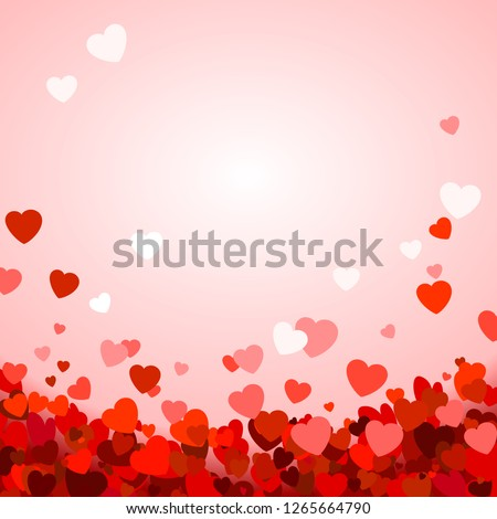 Valentine's day background with hearts. Romantic decoration elements. Background with falling hearts confetti. Vector illustration #1265664790
