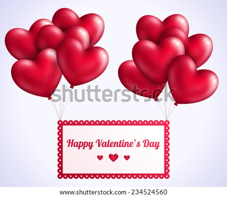 Happy Valentine S Day Card Design With Floating Hearts Download