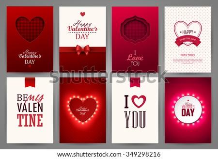 Valentine`s day backgrounds set. Vector illustration.