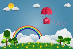 valentine's Day balloon heart-shaped floating in the sky and beautiful mountains cloud.paper art.vector illustration