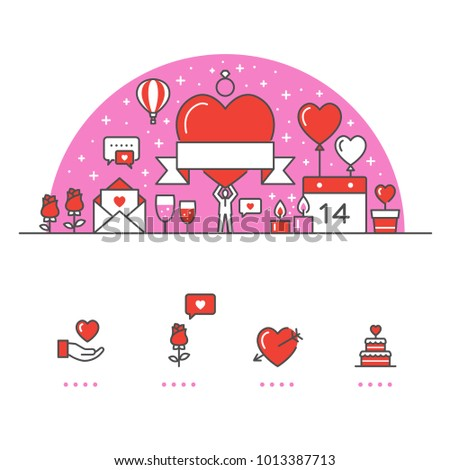 Valentine's Day banner and icons with White Background