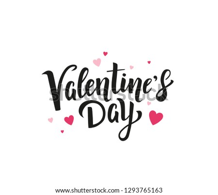 Valentine's Day beautiful hand drawn lettering with small light and dark pink  hearts on white background. - Vector #1293765163