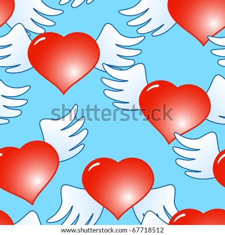 Valentine's day blue abstract background of red hearts with wings. Seamless pattern. Vector illustration.