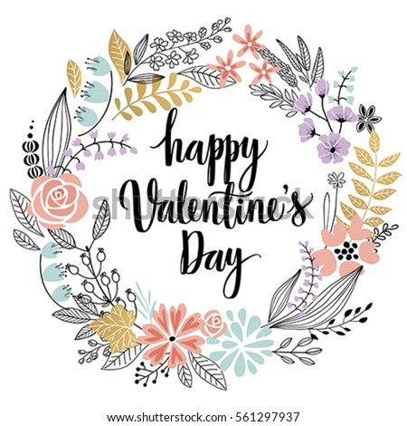 Valentine`s Day Callygraphic Wreath - hand drawn Vector illustration.