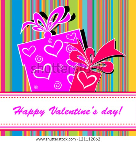 Valentine's day card. Celebration background with gift boxes and place for your text. vector illustration