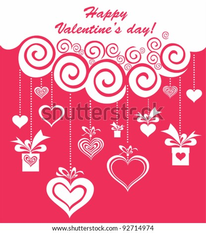 Valentine's day card design. Celebration background with gift boxes, heart and place for your text. Vector Illustration