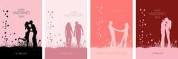 Valentine's day card design. Couples. Wedding set. Vector illustration