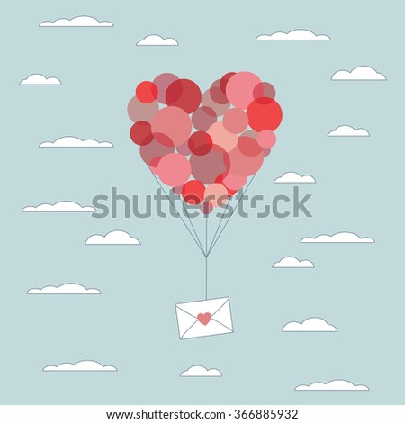 Valentine's day card template. Love letter in envelope flying up with red balloons. Hand drawn illustration. Eps10 vector illustration. #366885932
