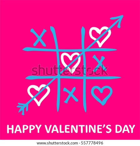 Valentine's Day card. Tic-tac-toe game with  hearts and inscription Valentine's Day on pink background. Vector illustration