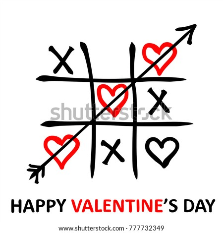 Valentine's Day card. Tic-tac-toe game with  hearts and inscription Valentine's Day on white background. Vector illustration