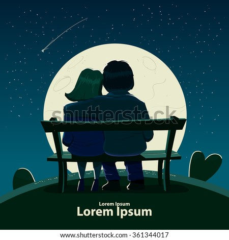 Valentine's Day card, vector illustration, happy couple sitting on a bench, love, hugs, cartoon characters, romantic date, night, moon, stars