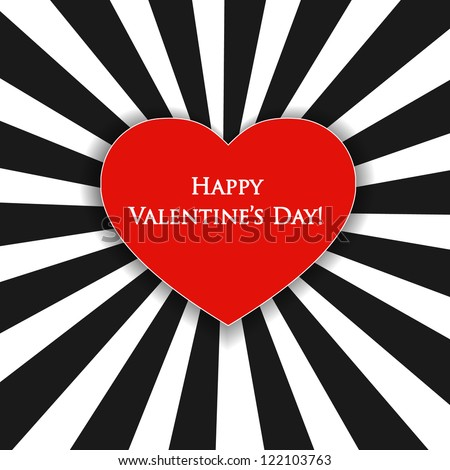 Valentine's day card with black and white stripes and red heart.
