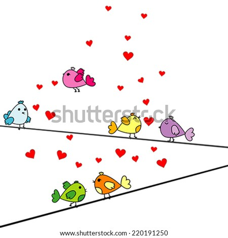 Valentine's Day card with cartoon birds and hearts