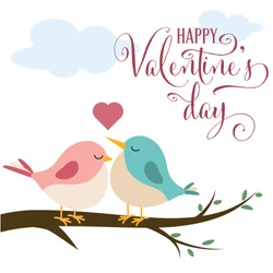 Valentine's day card with cute birds in love, flat design