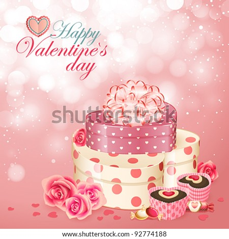Valentine`s Day card with heart shaped gifts, sweets and roses.