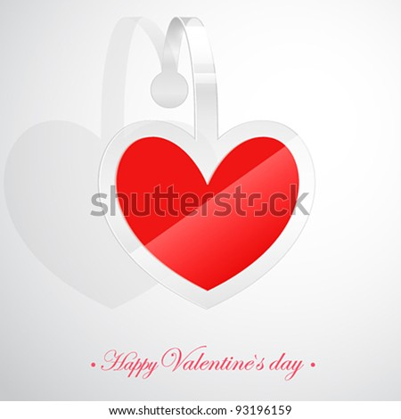 Valentine`s Day card with heart shaped sticker. Vector illustration.