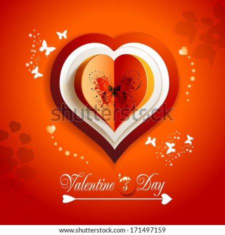 Valentine\'s day card with hearts and butterflies