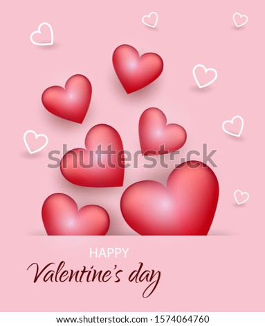 Valentine's day card with hearts for Valentine's day