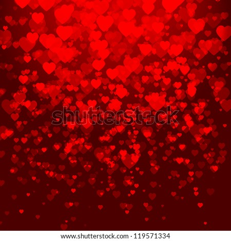 stock-vector-valentine-s-day-card-with-hearts-on-red-background-falling-hearts-shiny-decoration-effect-vector