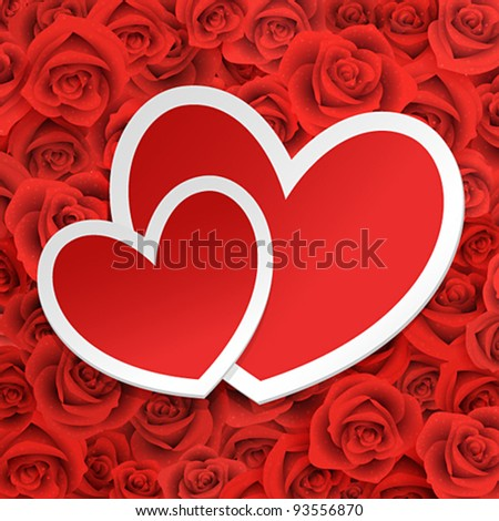 Valentine`s Day card with paper hearts on roses.