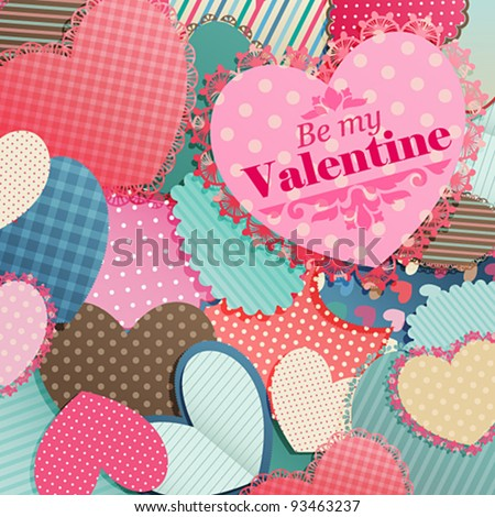 Valentine`s Day card with pile of paper hearts and place for text.