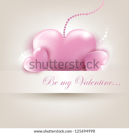 Valentine`s Day card with pink hearts. Vector Illustration.