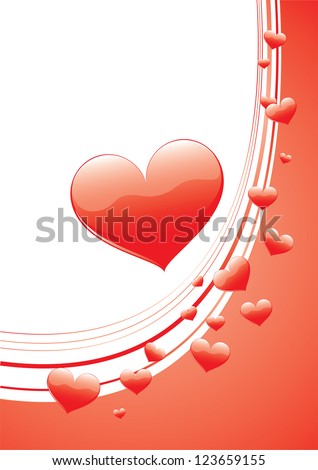 Valentine's Day card with red scattered hearts