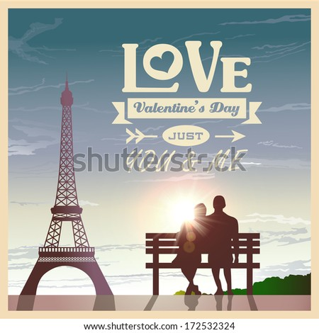 Valentine's day card with romantic couple at sunset background