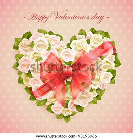 Valentine`s Day card with roses heart and place for text.