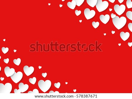 Valentine's Day card with scattered vector paper hearts on red background. Copy space.