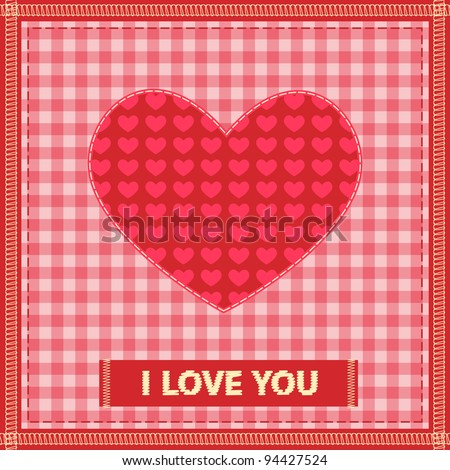 valentine\'s day card with sewing valentine