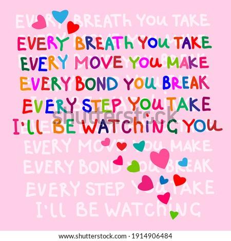 Valentine's day card with Sting love lyrics. Stock photo ©