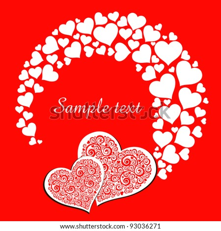 Valentine's day card with two hearts. Celebration background with heart and place for your text. Vector Illustration