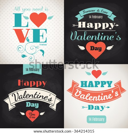 Valentine's Day cards. Set of four posters. Typographic designs. Black board designs.  #364214315