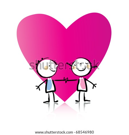 Valentine's Day cartoon little people in love with big heart, see more images related