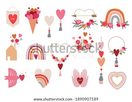 Valentine's day collection of illustrations. Set of modern flat love icons and symbols, hearts, rainbows, decorations