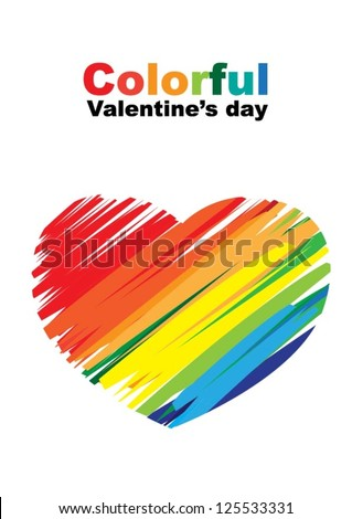 Valentine's day: Colorful crayon painted as a heart for Valentine's day